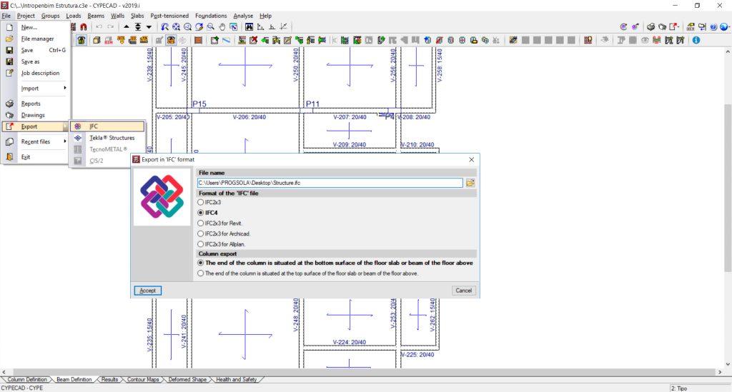 Exportação do modelo BIM da estrutura em IFC