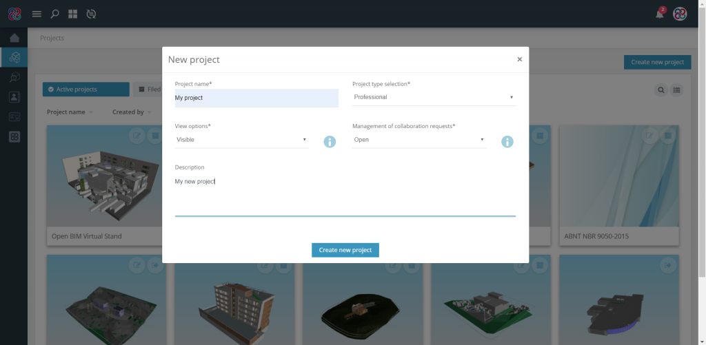 "Use the option ""Create new project"" and configure the details of your project."