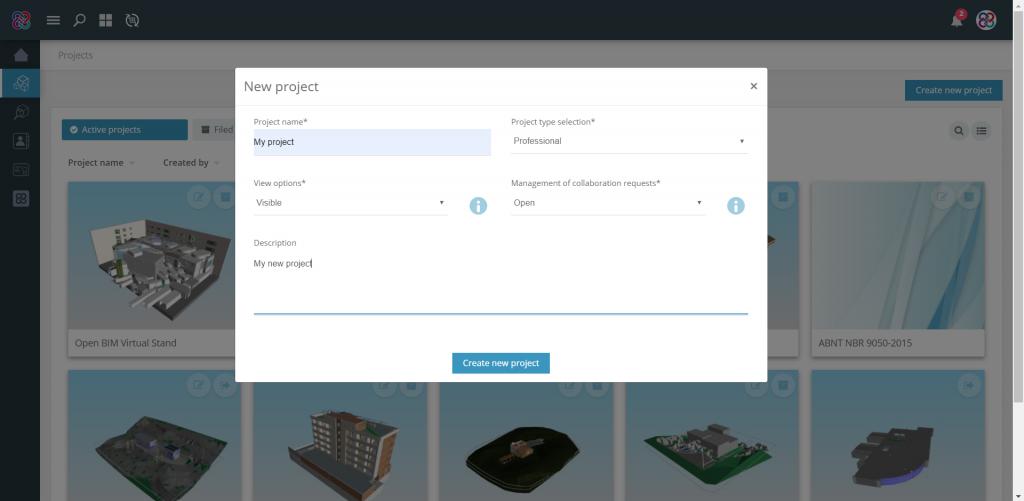 Utilisez l'option 'Créer un nouveau projet' sur BIMserver.center