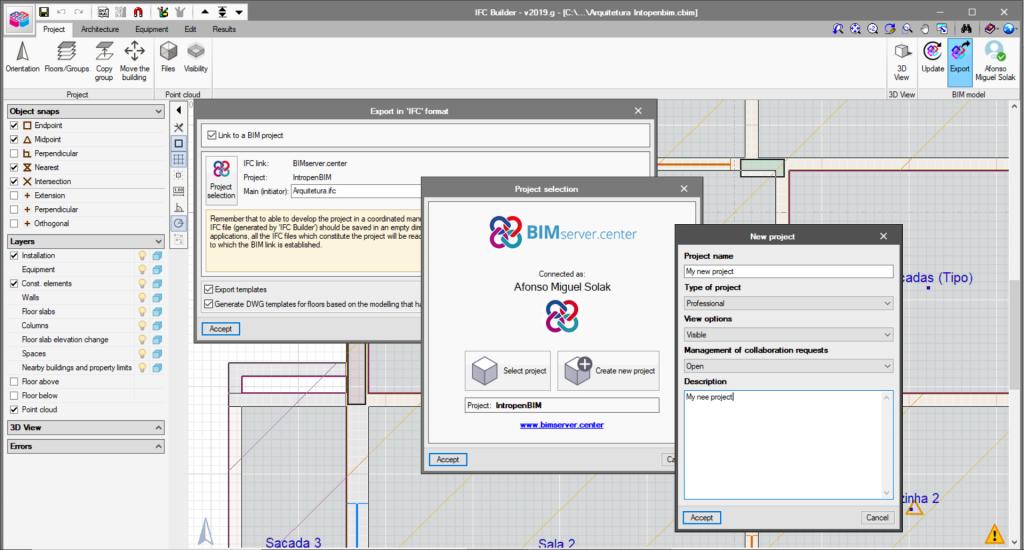 En créant un modèle architectural dans IFC Builder