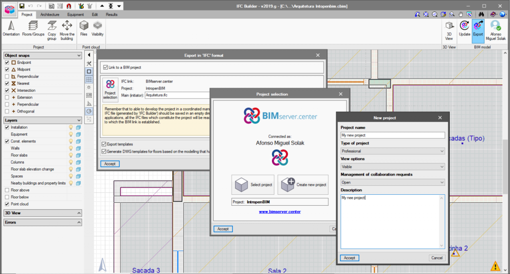 Creating an architectural model in IFC Builder.