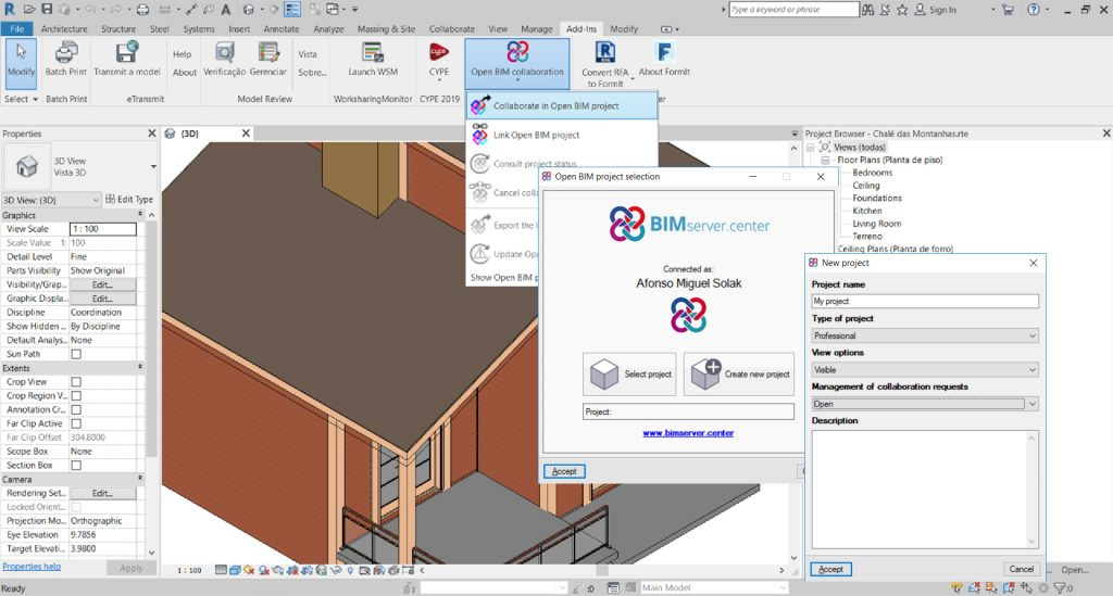 En créant un modèle architectural dans Autodesk Revit©
