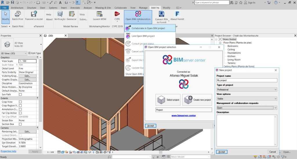 Utilize o Plug-in Open BIM para Revit para criar um novo projeto