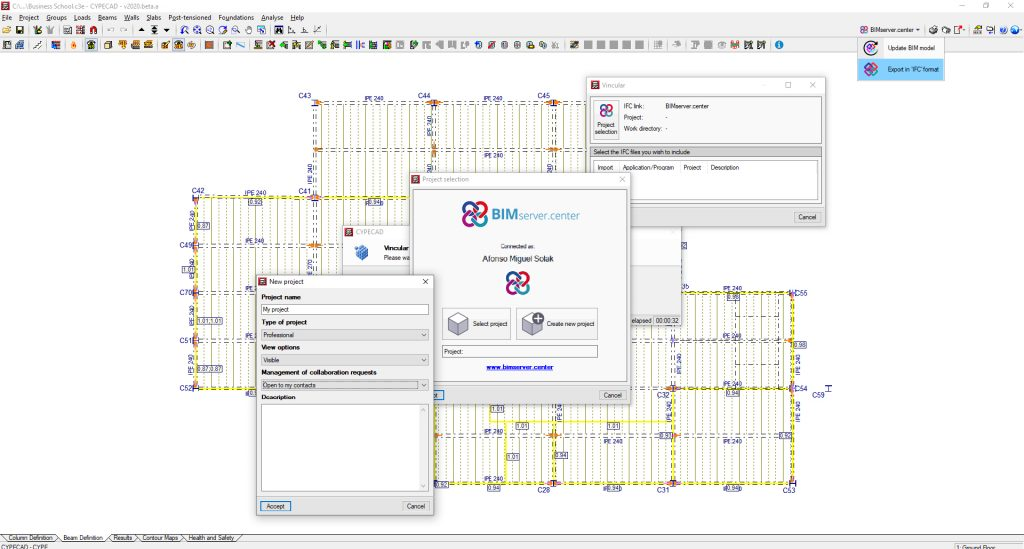 Starting a new Open BIM project with CYPECAD