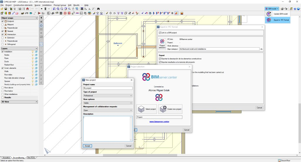 Starting a new Open BIM project with CYPECAD MEP