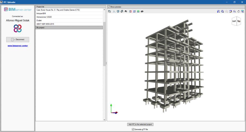 Upload de um modelo estrutural do CYPECAD ao BIMserver.center utilizando o IFC Uploader
