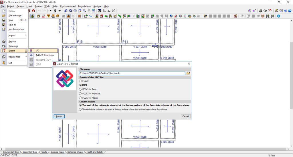 Exportación de modelo BIM de la estructura en IFC.