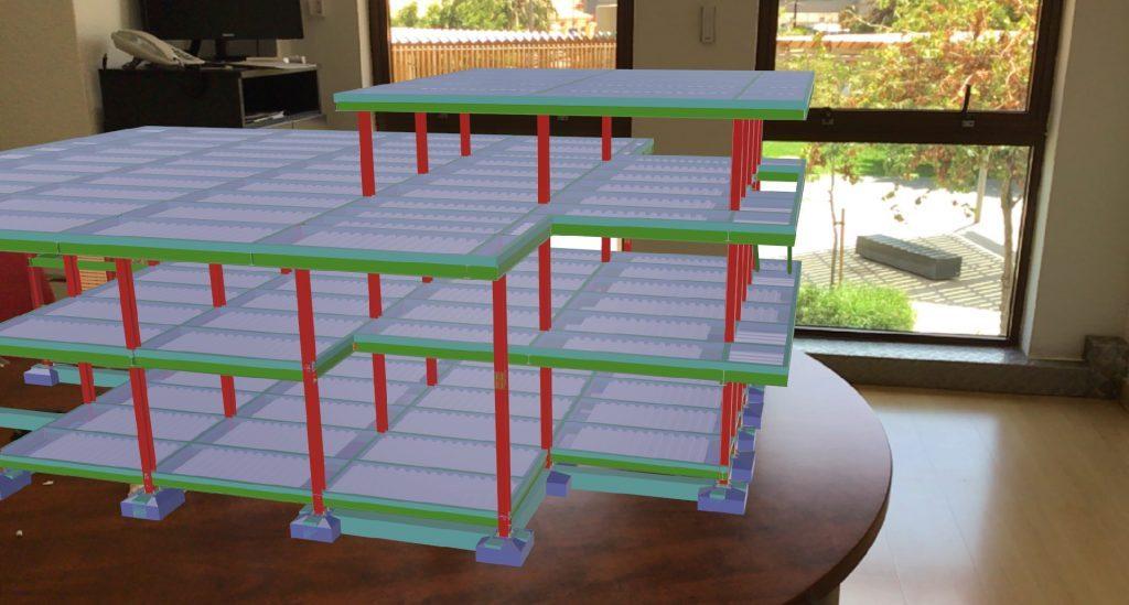 Structure métallique développée dans CYPECAD y visualisée en Réalité Augmentée via BIMserver.center AR.