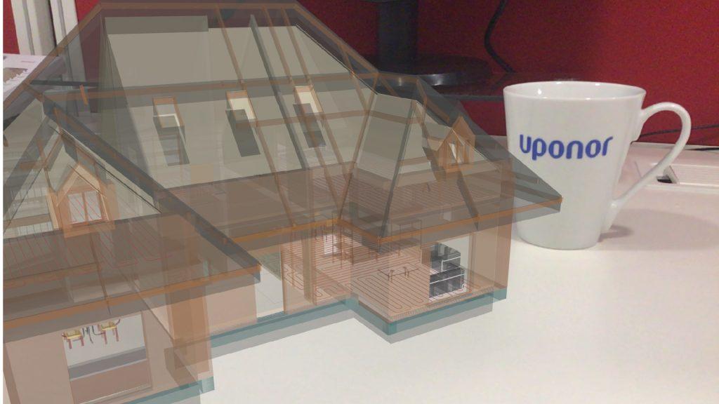 Modelo de realidade aumentada: Arquitetura, Móveis, Estrutura e Instalações UPONOR