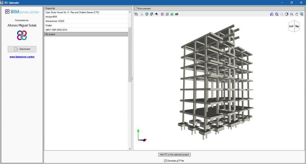 Téléchargement d'un modèle structural CYPECAD vers BIMserver.center via IFC Uploader.