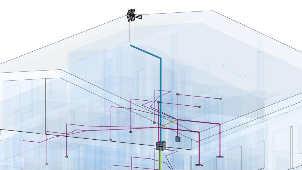 Modelo BIM da instalação de telecomunicações