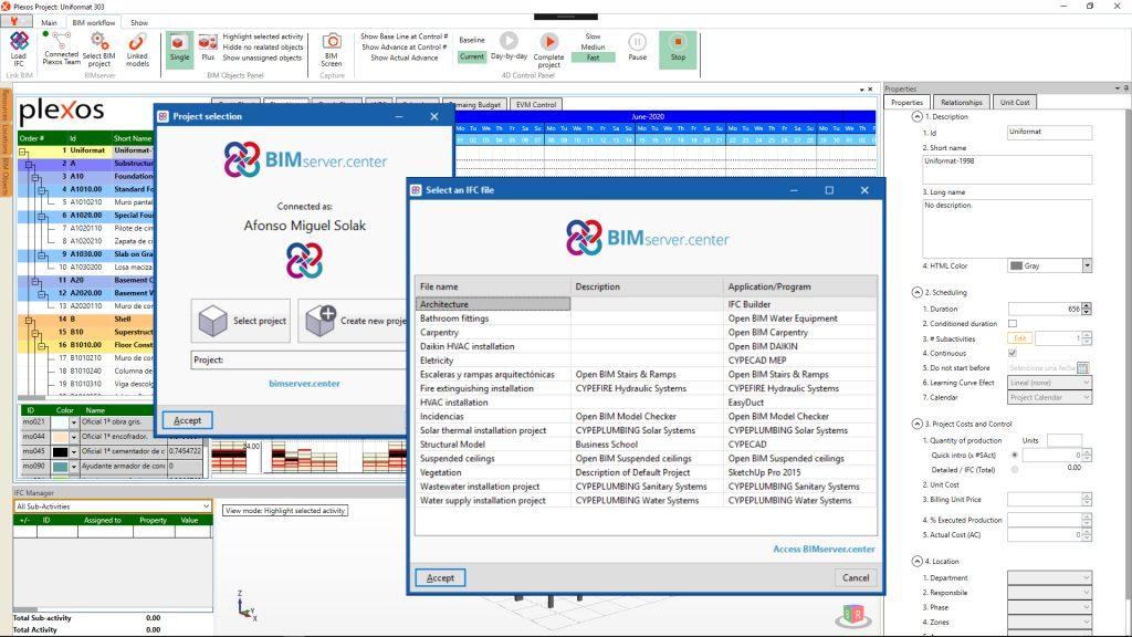 Los usuarios de BIMserver.center pueden usar su cuenta para sincronizar IFCs con Plexos Project®