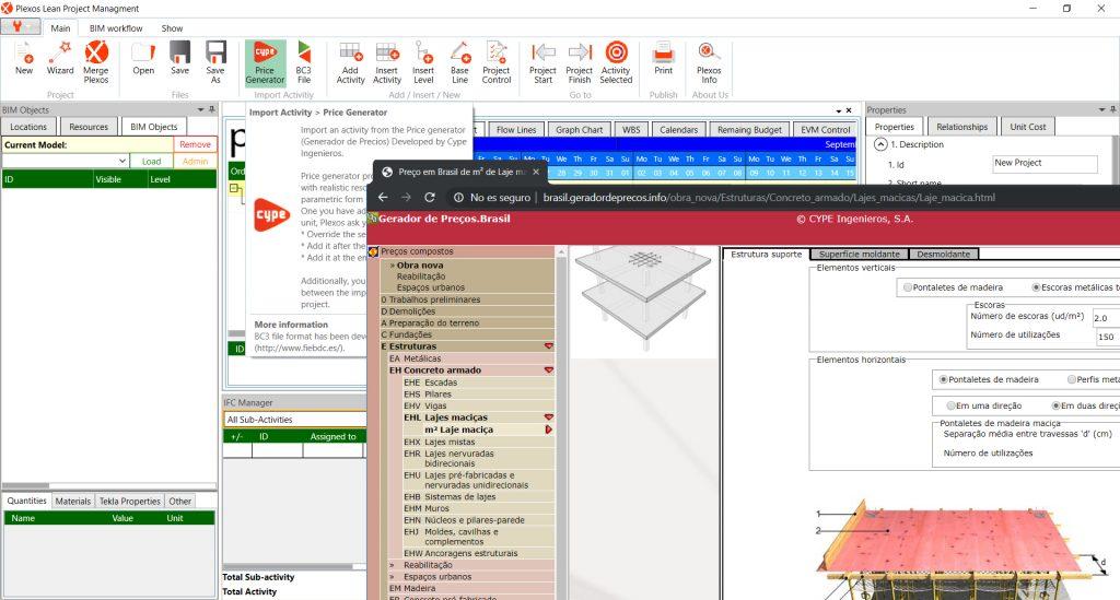 Via les fichiers au format BC3, les prix décomposés du Générateur de Prix peuvent être ajoutées dans Plexos Project®.
